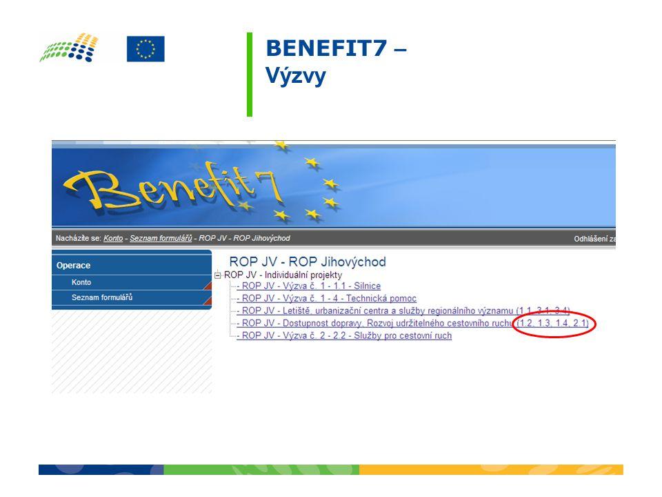 Formální úprava Označením rozlišit paré originál a paré kopie Žádost všechny strany tištěného výstupu elektronické žádosti budou pevně spojeny Povinné přílohy všechny přílohy musí být očíslovány podle seznamu příloh generovaného z BENEFIT7; pokud není příloha relevantní, vyznačí se v BENEFIT7 jako nerelevantní a již se nepřikládá