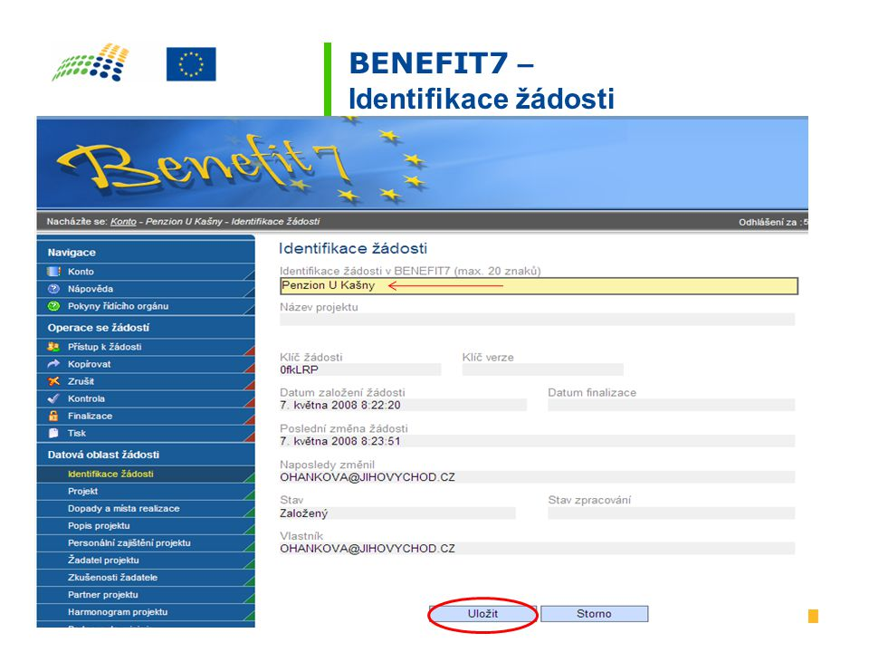 BENEFIT7 – Identifikace žádosti