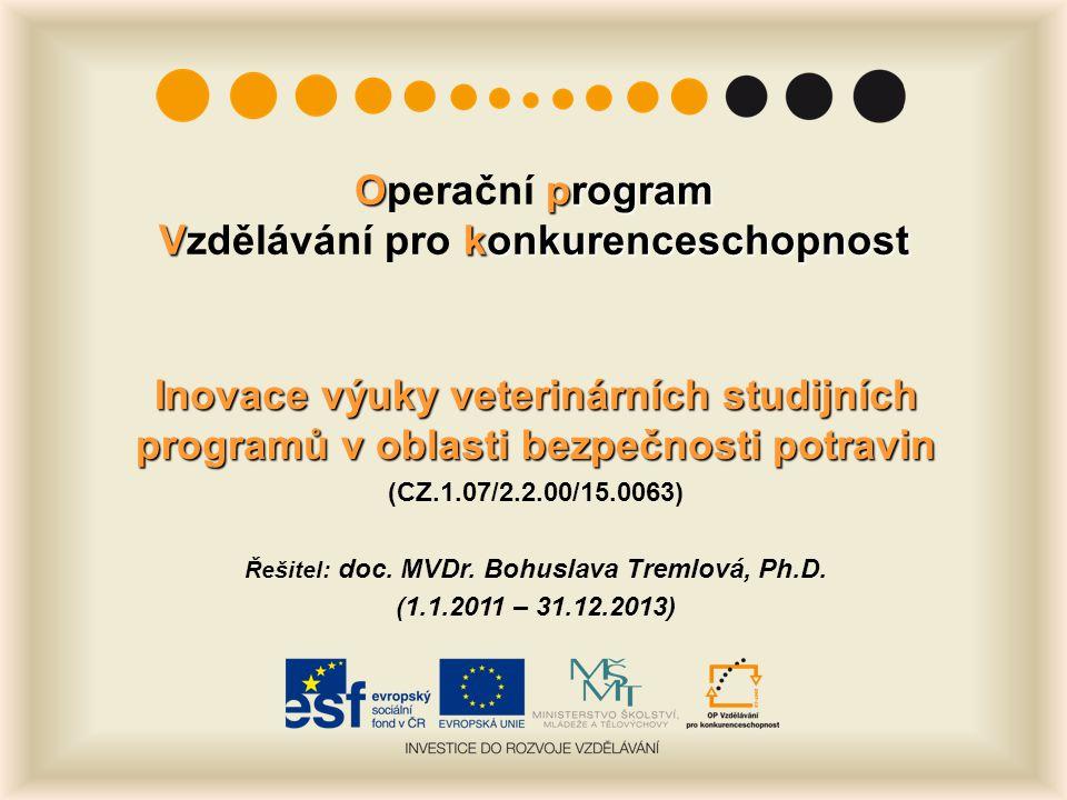 Oprogram Vkonkurenceschopnost Operační program Vzdělávání pro konkurenceschopnost Inovace výuky veterinárních studijních programů v oblasti bezpečnosti potravin (CZ.1.07/2.2.00/15.0063) Řešitel: doc.