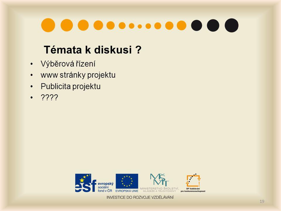 Témata k diskusi Výběrová řízení www stránky projektu Publicita projektu 19