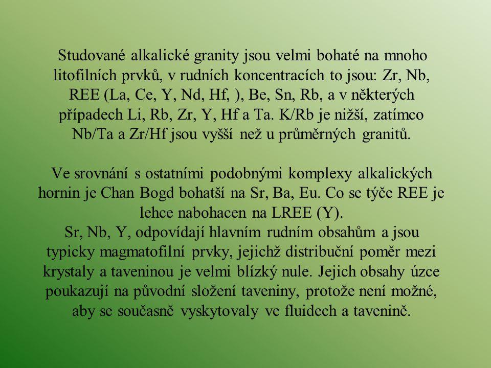 Studované alkalické granity jsou velmi bohaté na mnoho litofilních prvků, v rudních koncentracích to jsou: Zr, Nb, REE (La, Ce, Y, Nd, Hf, ), Be, Sn,
