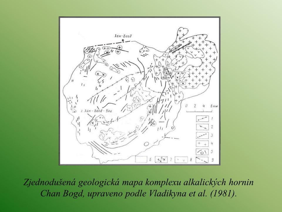 Zjednodušená geologická mapa komplexu alkalických hornin Chan Bogd, upraveno podle Vladikyna et al. (1981).