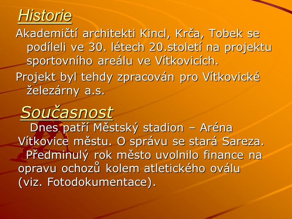 Historie Akademičtí architekti Kincl, Krča, Tobek se podíleli ve 30. létech 20.století na projektu sportovního areálu ve Vítkovicích. Projekt byl tehd