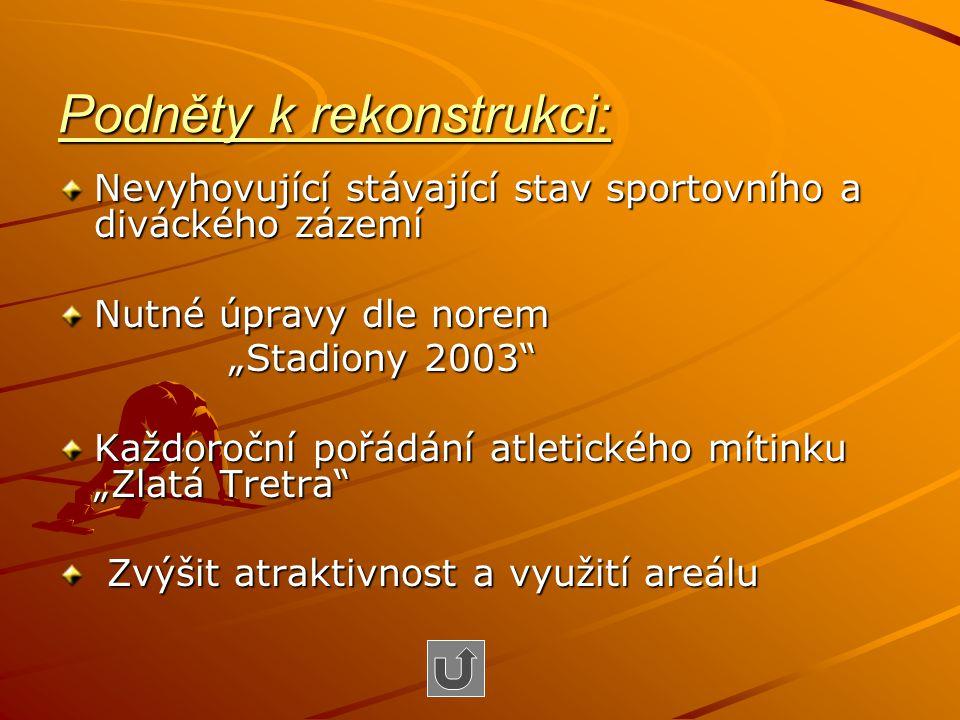 """Podněty k rekonstrukci: Nevyhovující stávající stav sportovního a diváckého zázemí Nutné úpravy dle norem """"Stadiony 2003"""" """"Stadiony 2003"""" Každoroční p"""