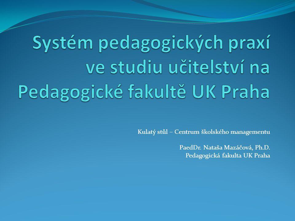 Kulatý stůl – Centrum školského managementu PaedDr. Nataša Mazáčová, Ph.D. Pedagogická fakulta UK Praha