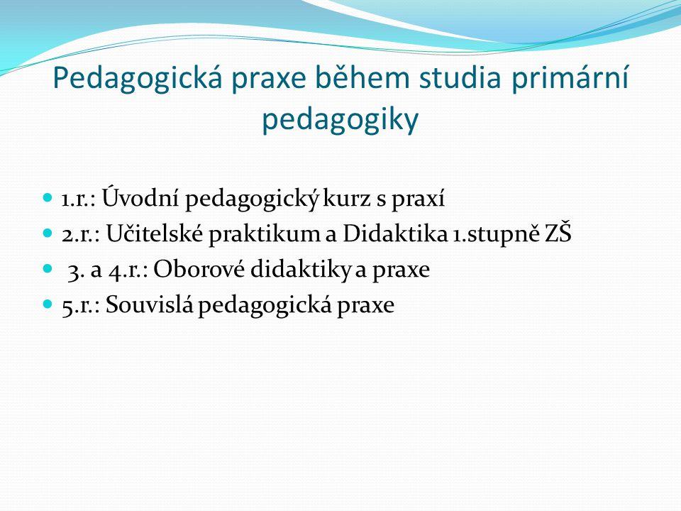 Pedagogická praxe během studia primární pedagogiky 1.r.: Úvodní pedagogický kurz s praxí 2.r.: Učitelské praktikum a Didaktika 1.stupně ZŠ 3. a 4.r.:
