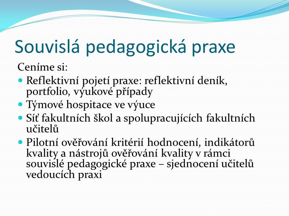 Souvislá pedagogická praxe Ceníme si: Reflektivní pojetí praxe: reflektivní deník, portfolio, výukové případy Týmové hospitace ve výuce Síť fakultních