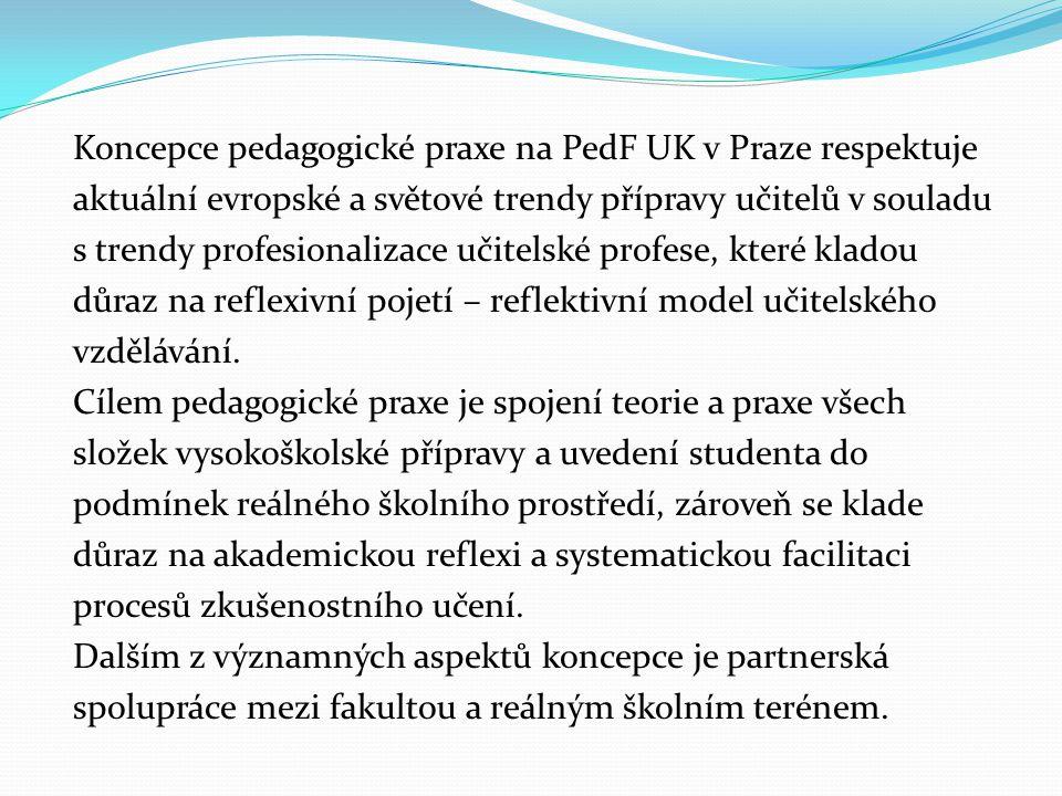 Koncepce pedagogické praxe na PedF UK v Praze respektuje aktuální evropské a světové trendy přípravy učitelů v souladu s trendy profesionalizace učite