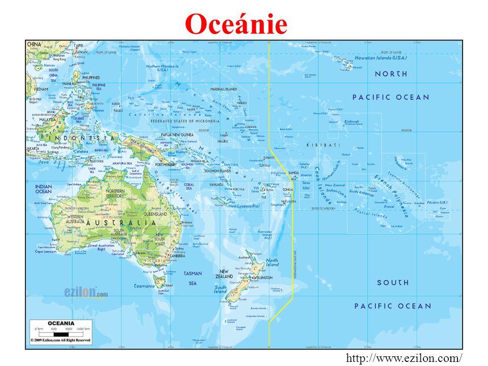 Oceánie - obrovské množství ostrovů roztroušených v Pacifiku po obou stranách rovníku, rozděleno do 3 velkých skupin a protnuto datovou hranicí.