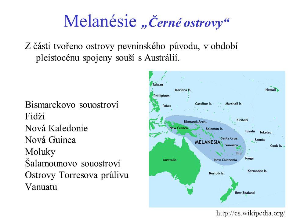 "Mikronésie ""malé ostrovy Tvořeno dvěmi typy ostrovů: - korálovými - sopečnými Palau Mikronésie Marshallovy ostrovy Nauru Kiribati Guam Severní Mariany http://cs.wikipedia.org/"