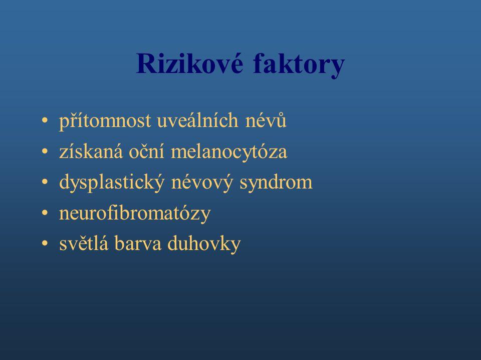 Rizikové faktory přítomnost uveálních névů získaná oční melanocytóza dysplastický névový syndrom neurofibromatózy světlá barva duhovky
