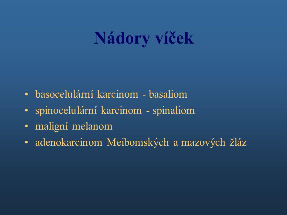 Nádory víček basocelulární karcinom - basaliom spinocelulární karcinom - spinaliom maligní melanom adenokarcinom Meibomských a mazových žláz