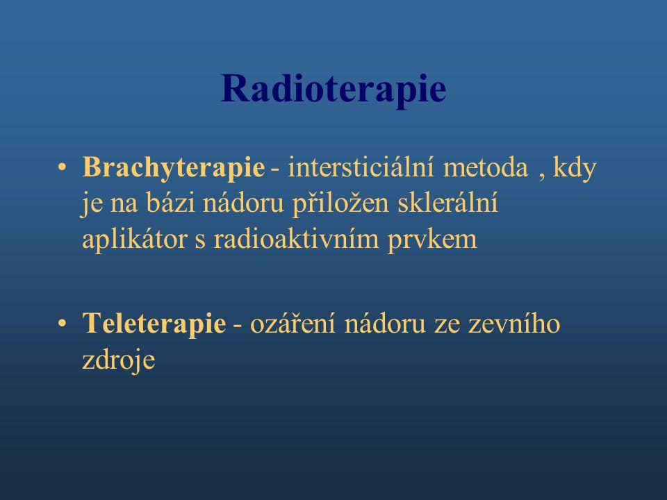 Radioterapie Brachyterapie - intersticiální metoda, kdy je na bázi nádoru přiložen sklerální aplikátor s radioaktivním prvkem Teleterapie - ozáření nádoru ze zevního zdroje