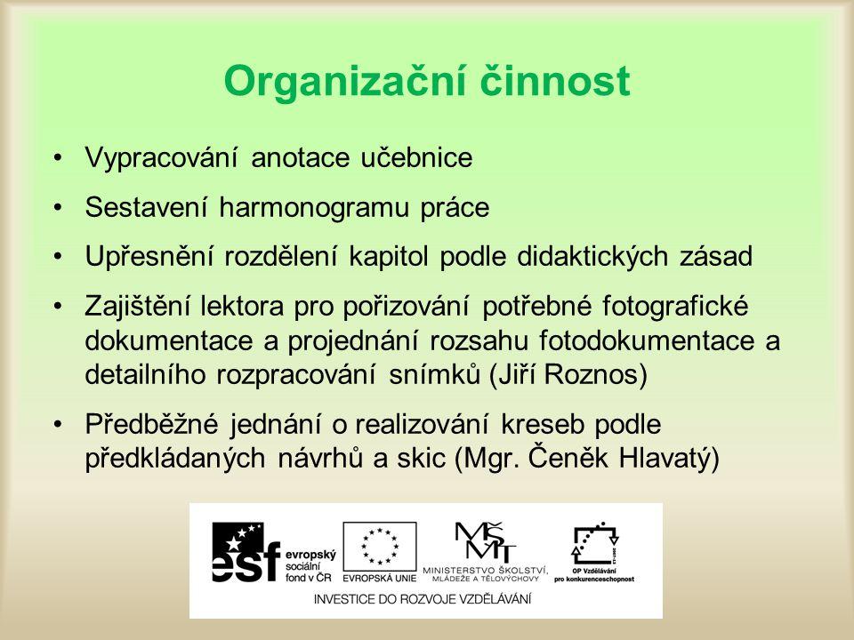 Organizační činnost Vypracování anotace učebnice Sestavení harmonogramu práce Upřesnění rozdělení kapitol podle didaktických zásad Zajištění lektora p