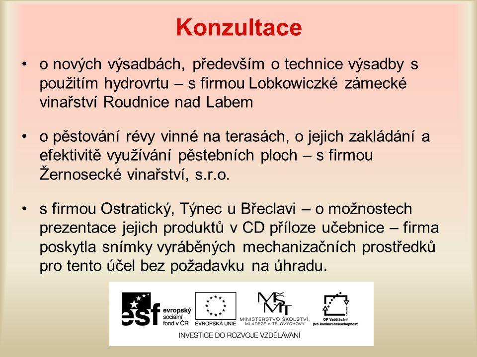 Konzultace o nových výsadbách, především o technice výsadby s použitím hydrovrtu – s firmou Lobkowiczké zámecké vinařství Roudnice nad Labem o pěstová