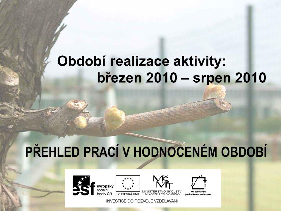 Období realizace aktivity: březen 2010 – srpen 2010 PŘEHLED PRACÍ V HODNOCENÉM OBDOBÍ