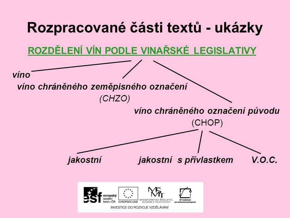 Rozpracované části textů - ukázky ROZDĚLENÍ VÍN PODLE VINAŘSKÉ LEGISLATIVY víno víno chráněného zeměpisného označení (CHZO) víno chráněného označení p