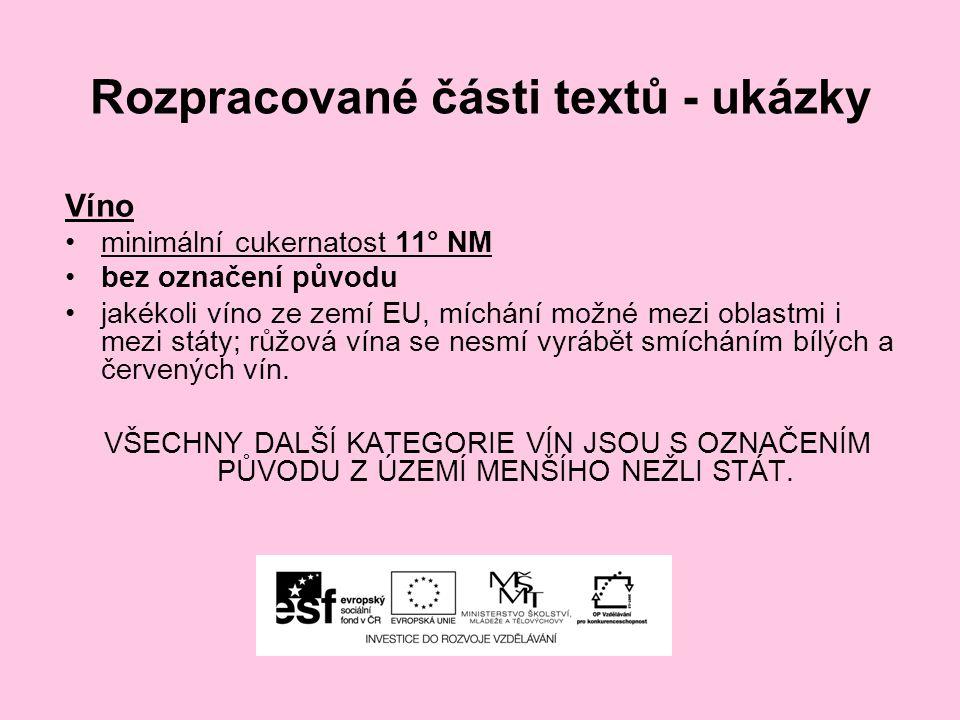 Rozpracované části textů - ukázky Víno minimální cukernatost 11° NM bez označení původu jakékoli víno ze zemí EU, míchání možné mezi oblastmi i mezi s