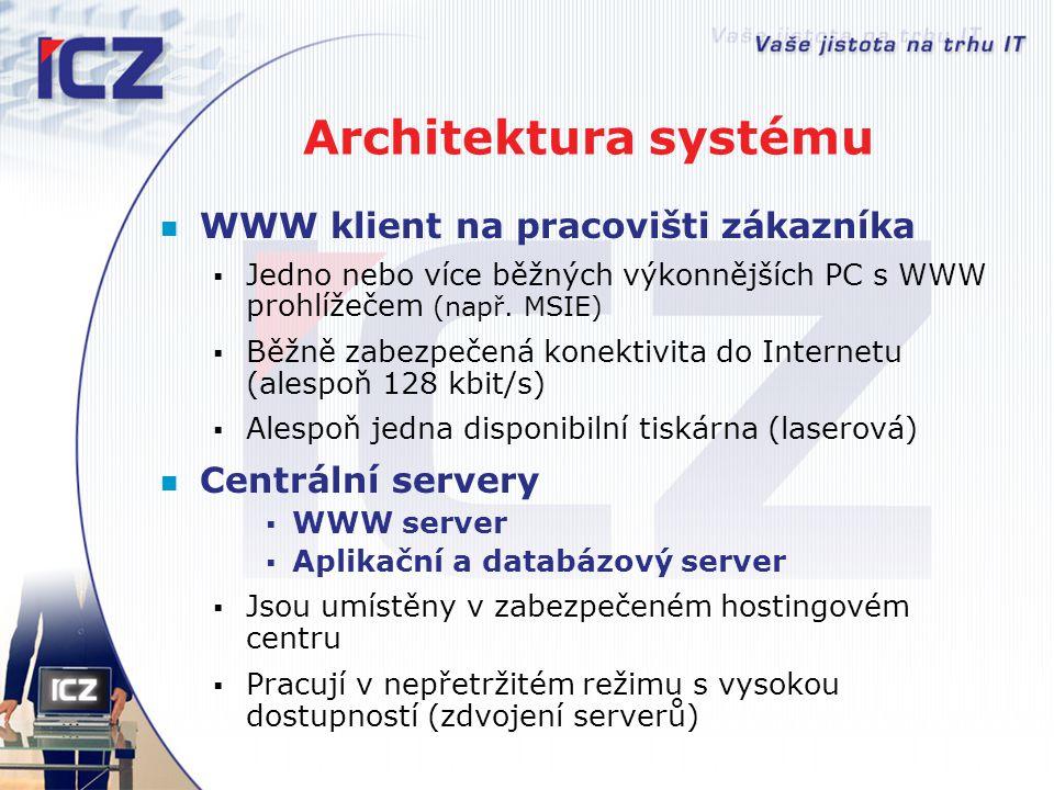 Architektura systému WWW klient na pracovišti zákazníka  Jedno nebo více běžných výkonnějších PC s WWW prohlížečem (např. MSIE)  Běžně zabezpečená k