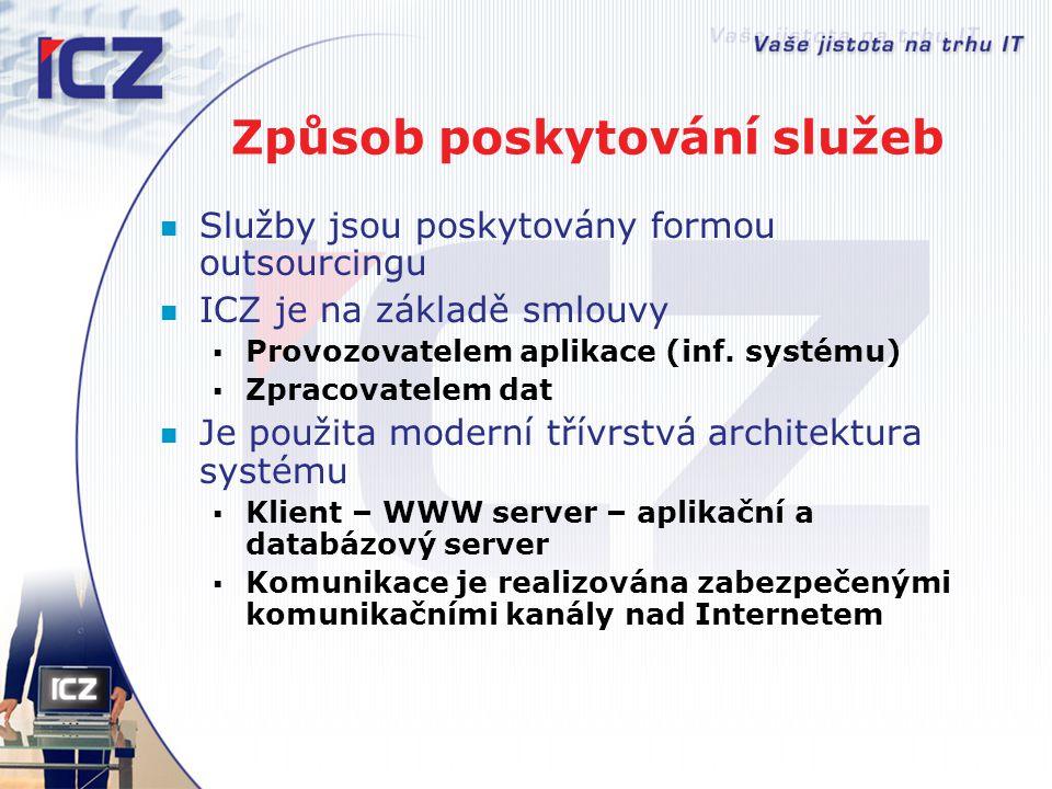 Způsob poskytování služeb Služby jsou poskytovány formou outsourcingu ICZ je na základě smlouvy  Provozovatelem aplikace (inf. systému)  Zpracovatel