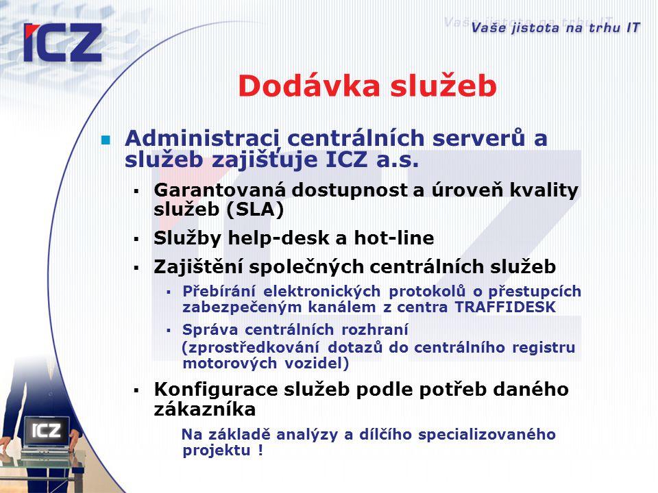 Dodávka služeb Administraci centrálních serverů a služeb zajišťuje ICZ a.s.  Garantovaná dostupnost a úroveň kvality služeb (SLA)  Služby help-desk