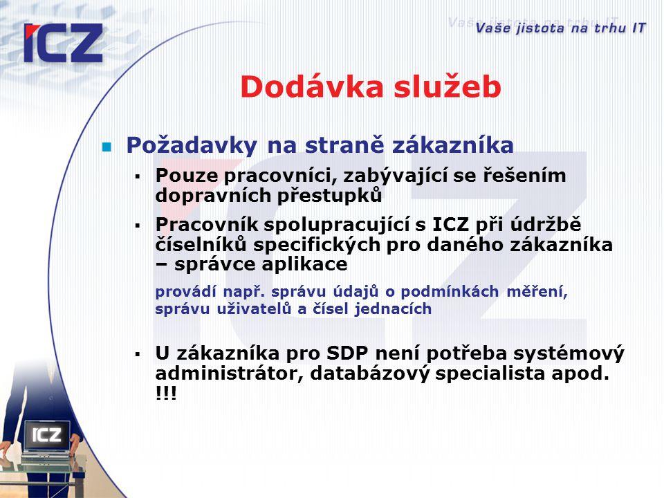 Dodávka služeb Požadavky na straně zákazníka  Pouze pracovníci, zabývající se řešením dopravních přestupků  Pracovník spolupracující s ICZ při údržb