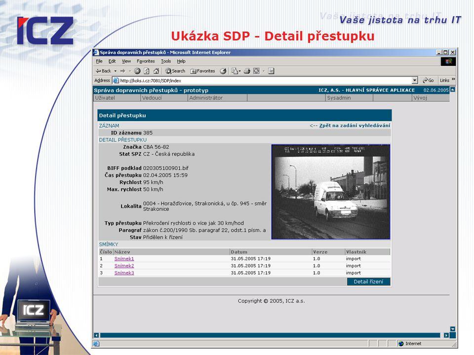 Ukázka SDP - Detail přestupku