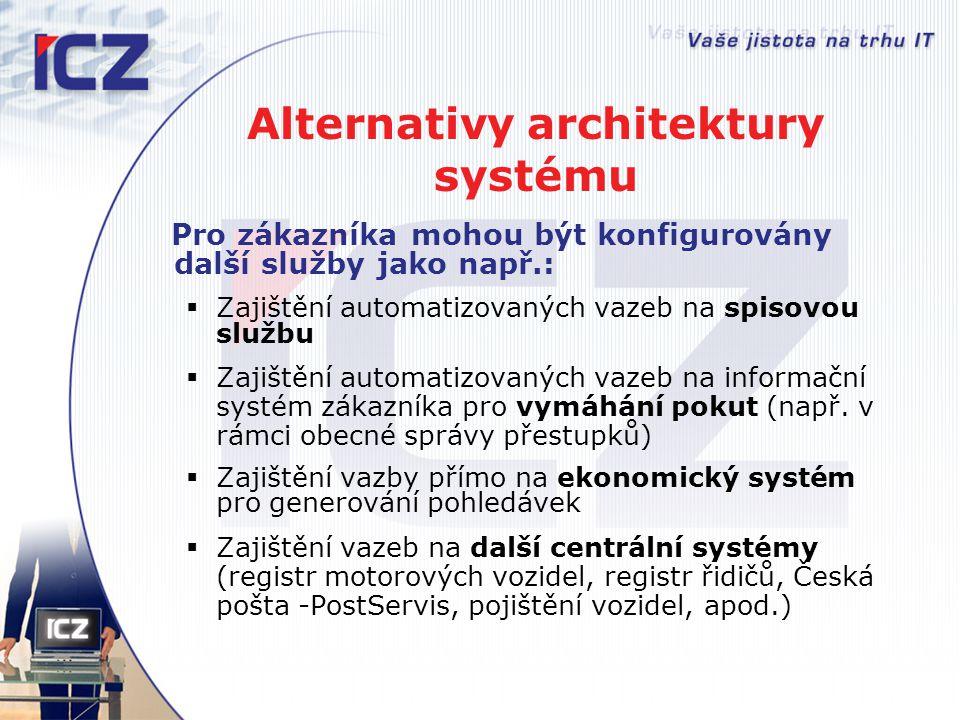 Alternativy architektury systému Pro zákazníka mohou být konfigurovány další služby jako např.:  Zajištění automatizovaných vazeb na spisovou službu