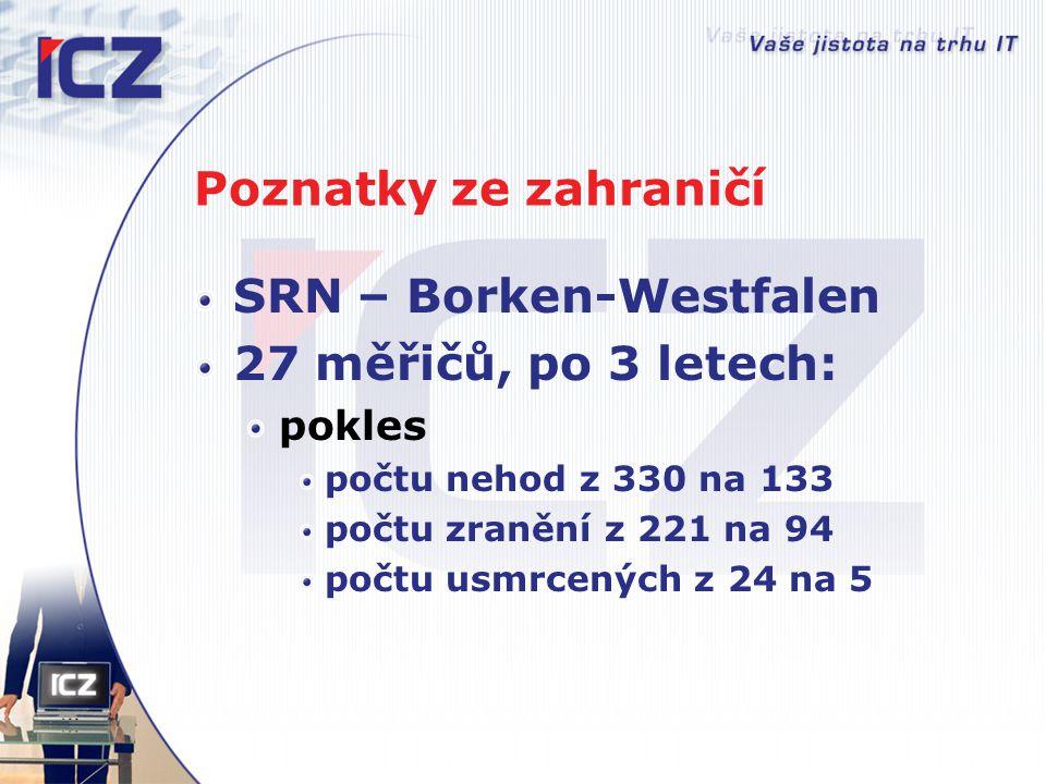 Poznatky ze zahraničí SRN – Borken-Westfalen 27 měřičů, po 3 letech: pokles počtu nehod z 330 na 133 počtu zranění z 221 na 94 počtu usmrcených z 24 n