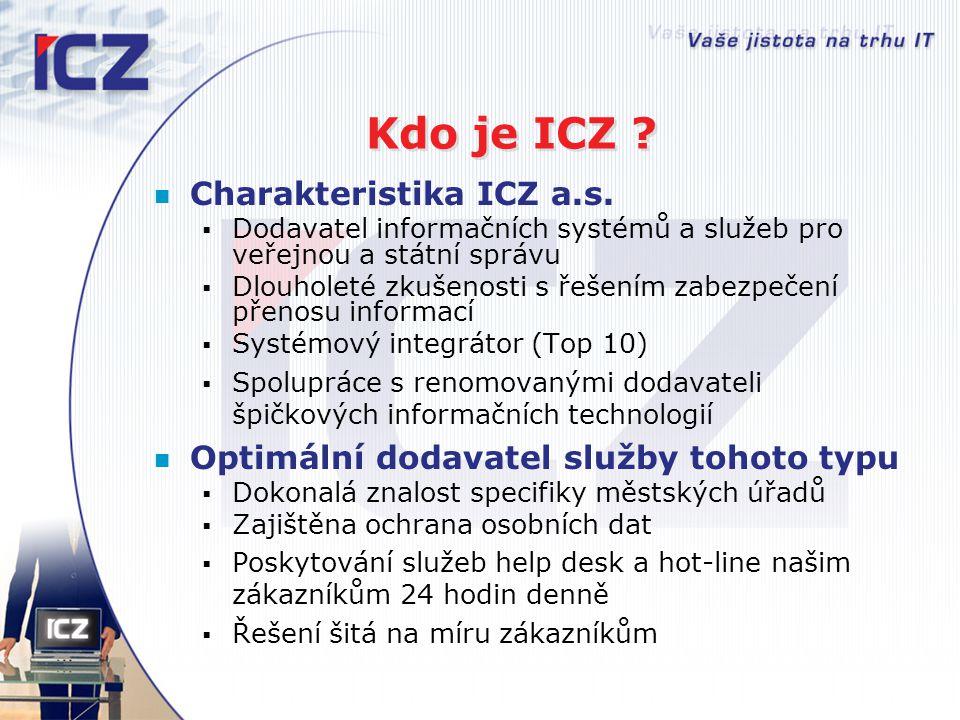 Kdo je ICZ ? Charakteristika ICZ a.s.  Dodavatel informačních systémů a služeb pro veřejnou a státní správu  Dlouholeté zkušenosti s řešením zabezpe
