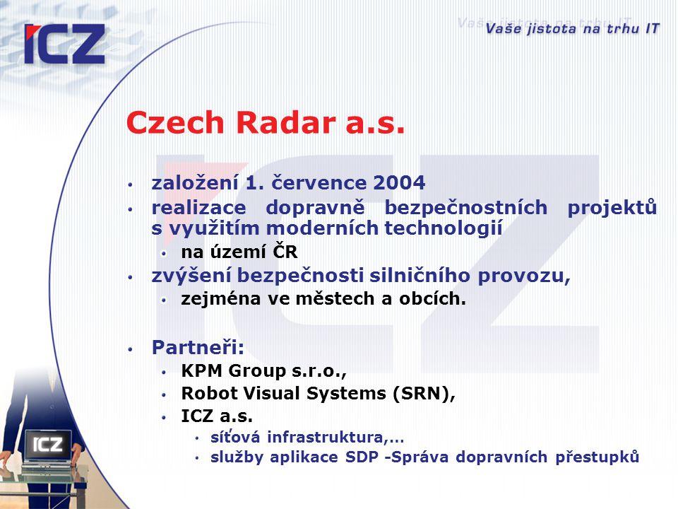 Czech Radar a.s. založení 1. července 2004 realizace dopravně bezpečnostních projektů s využitím moderních technologií na území ČR zvýšení bezpečnosti