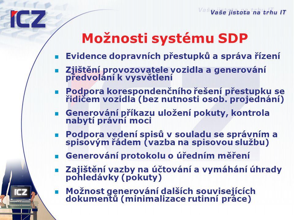 Přínosy systému SDP Zvýšení bezpečnosti silničního provozu využitím bezobslužných kontrol Zvýšení efektivnosti práce správních orgánů automatizovanou podporou přestupkového řízení Možnost výrazného navýšení počtu vyřešených přestupků bez nutnosti personálního posílení správního orgánu Náklady na provoz systému SDP kryty příjmem z úhrady pokut (dáno obchodní politikou dodavatele)