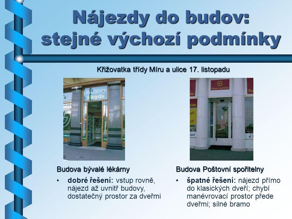 Nájezdy do budov: stejné výchozí podmínky Budova Poštovní spořitelny špatné řešení: nájezd přímo do klasických dveří; chybí manévrovací prostor přede
