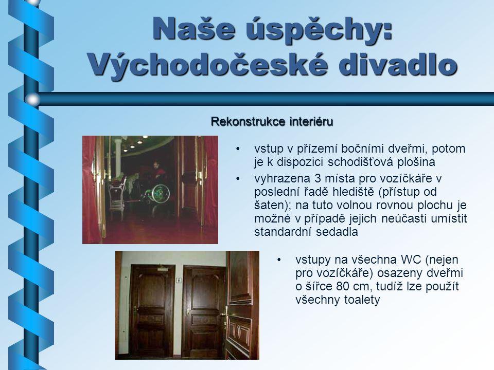 Naše úspěchy: Východočeské divadlo vstupy na všechna WC (nejen pro vozíčkáře) osazeny dveřmi o šířce 80 cm, tudíž lze použít všechny toalety vstup v p