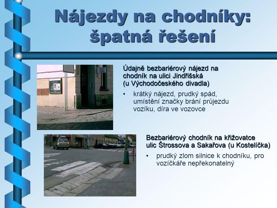 Nájezdy na chodníky: špatná řešení Údajně bezbariérový nájezd na chodník na ulici Jindřišská (u Východočeského divadla) krátký nájezd, prudký spád, um