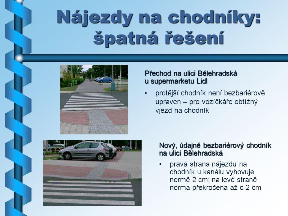Nájezdy na chodníky: špatná řešení Přechod na ulici Bělehradská u supermarketu Lidl protější chodník není bezbariérově upraven – pro vozíčkáře obtížný