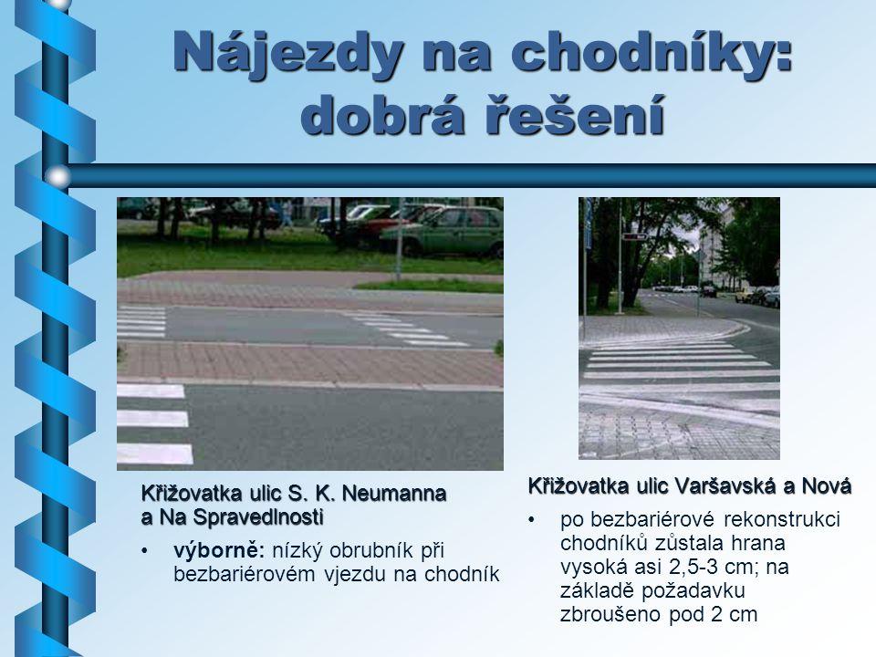 Nájezdy na chodníky: dobrá řešení Křižovatka ulic Varšavská a Nová po bezbariérové rekonstrukci chodníků zůstala hrana vysoká asi 2,5-3 cm; na základě