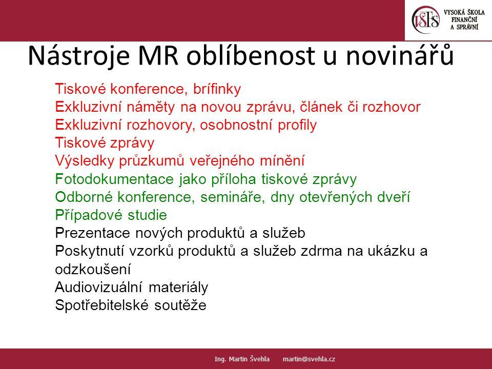 Nástroje MR oblíbenost u novinářů 15. PaedDr.Emil Hanousek,CSc., 14002@mail.vsfs.cz :: Ing.