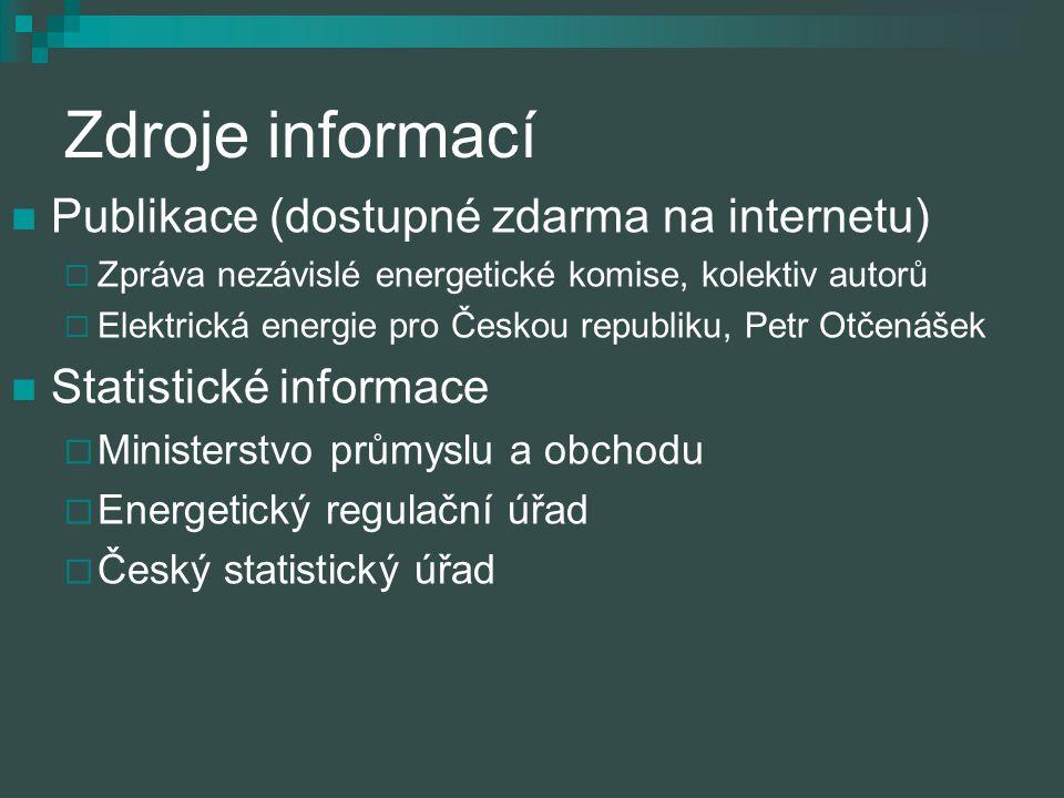 Zdroje informací Publikace (dostupné zdarma na internetu)  Zpráva nezávislé energetické komise, kolektiv autorů  Elektrická energie pro Českou repub