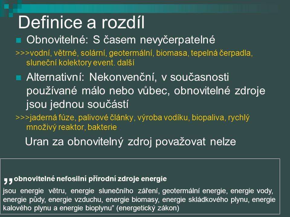Definice a rozdíl Obnovitelné: S časem nevyčerpatelné >>>vodní, větrné, solární, geotermální, biomasa, tepelná čerpadla, sluneční kolektory event. dal