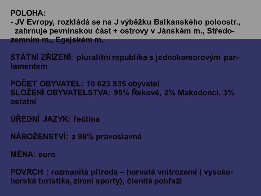 POLOHA: - JV Evropy, rozkládá se na J výběžku Balkanského poloostr., zahrnuje pevninskou část + ostrovy v Jánském m., Středo- zemním m., Egejském m.