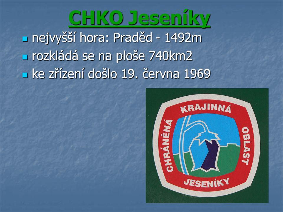CHKO Jeseníky nejvyšší hora: Praděd - 1492m nejvyšší hora: Praděd - 1492m rozkládá se na ploše 740km2 rozkládá se na ploše 740km2 ke zřízení došlo 19.