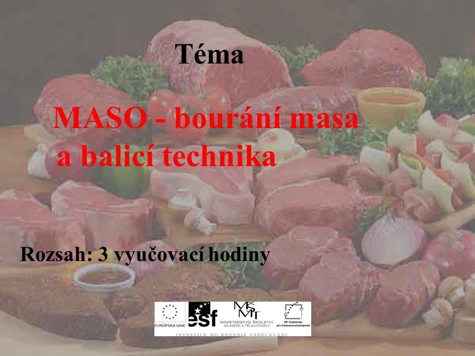 MASO – bourání a balící technika Téma MASO - bourání masa a balicí technika Rozsah: 3 vyučovací hodiny