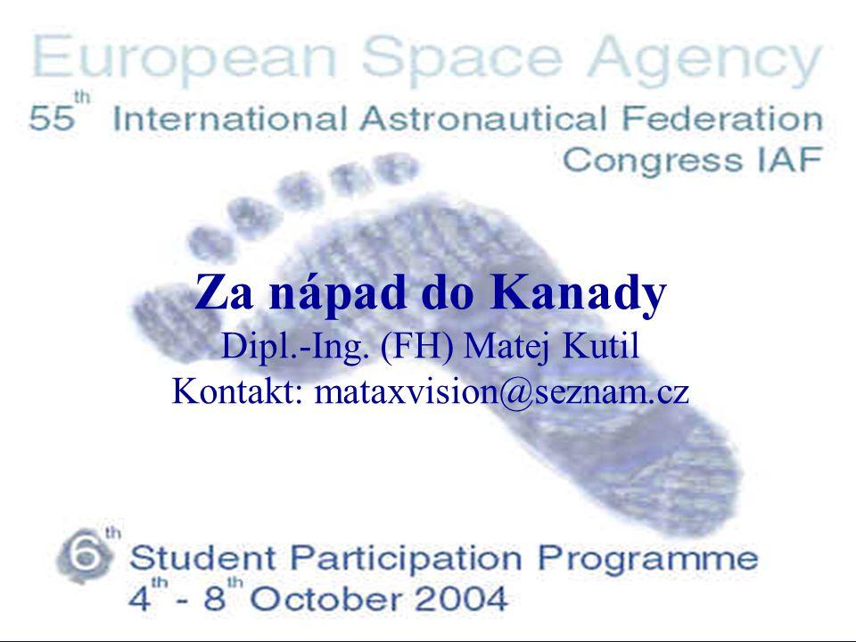 6 th IAF Student Participation Programme Témata prezentace 1.Má cesta k účasti na programu ESA 2.Aktivní černá skříňka pro přistávací moduly 3.Fotodokumentace, IAC 2004 Vancouver 4.Studentské programy ESA