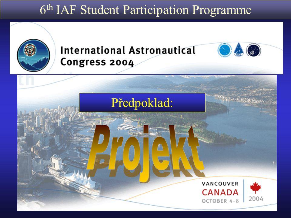 6 th IAF Student Participation Programme YES2 Young Engineers Satellite 2 http://www.estec.esa.nl/outreach/spacemail/ Problém: Transport užitného nákladu z mezinárodní kosmické stanice je možný pouze s kapslemi Soyuzu (a raketoplánem) (vázáno na let posádky) Možné řešení: YES2 - Studentská a univerzitní síť (nyní 25 Univerzit) - možná revoluční transportní systém pro užitný náklad pro ISS Účast: viz.