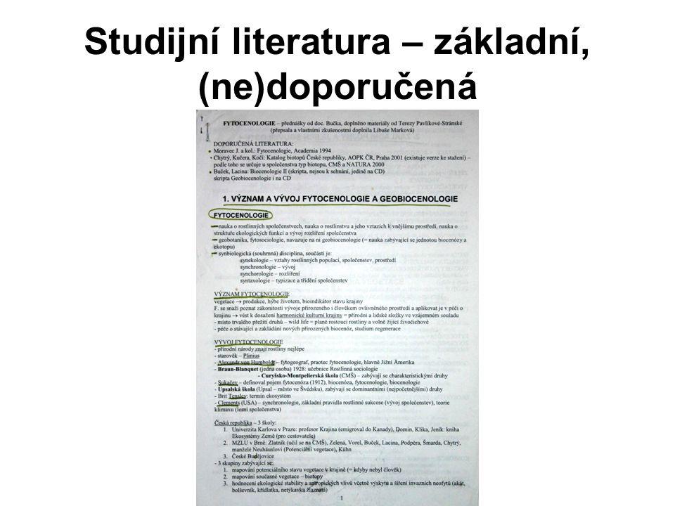 Studijní literatura – základní, (ne)doporučená