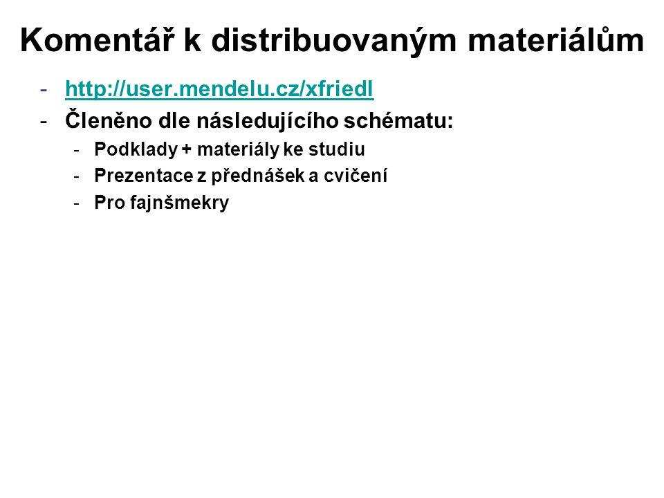 Komentář k distribuovaným materiálům -http://user.mendelu.cz/xfriedlhttp://user.mendelu.cz/xfriedl -Členěno dle následujícího schématu: -Podklady + materiály ke studiu -Prezentace z přednášek a cvičení -Pro fajnšmekry