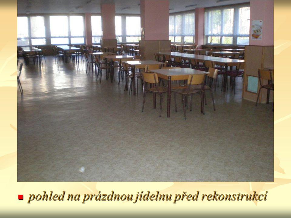 pohled na prázdnou jídelnu před rekonstrukcí pohled na prázdnou jídelnu před rekonstrukcí