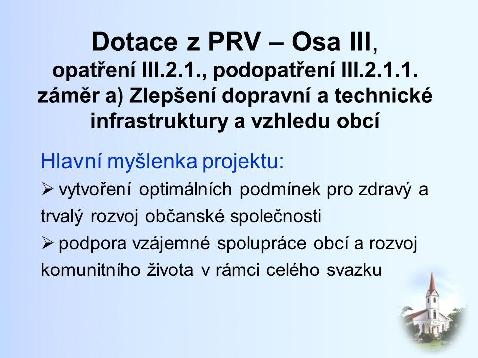 Dotace z PRV – Osa III, opatření III.2.1., podopatření III.2.1.1.