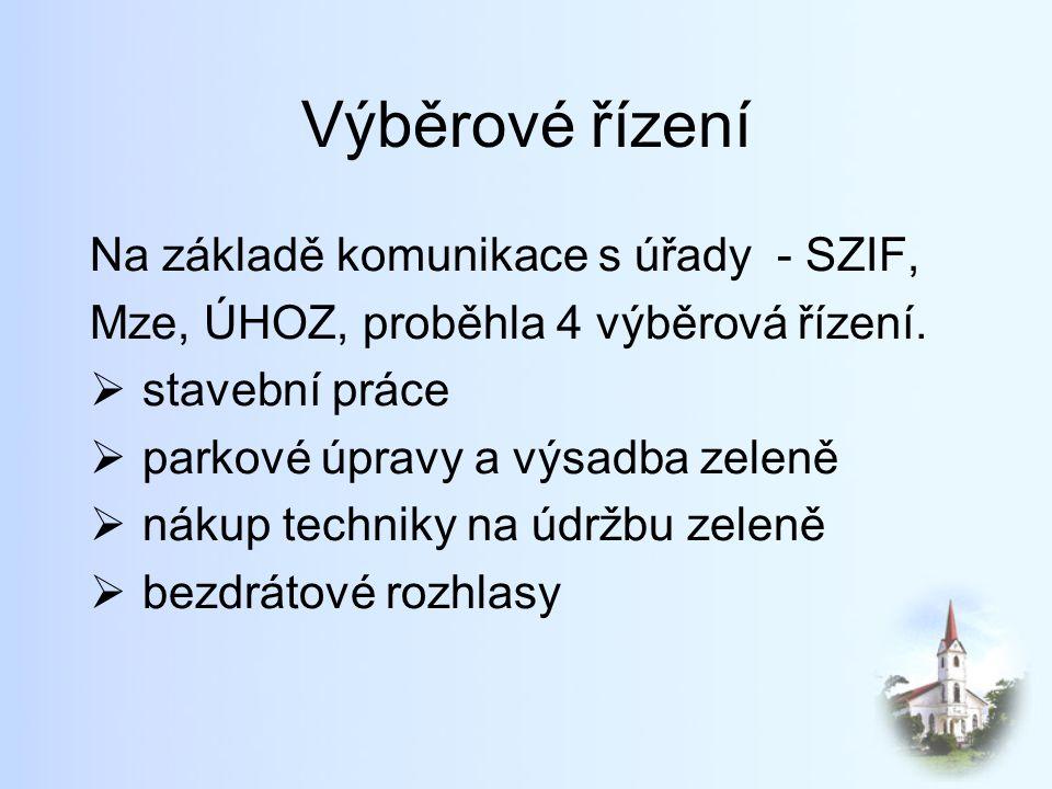 Výběrové řízení Na základě komunikace s úřady - SZIF, Mze, ÚHOZ, proběhla 4 výběrová řízení.